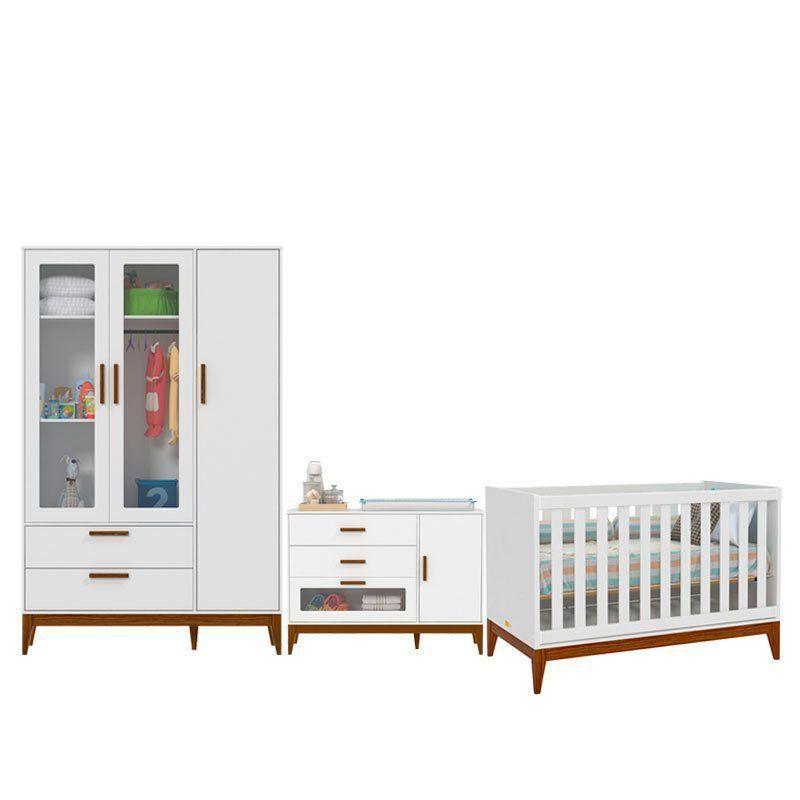 Quarto de Bebê Nature Glass 3 Portas Matic Cor Branco