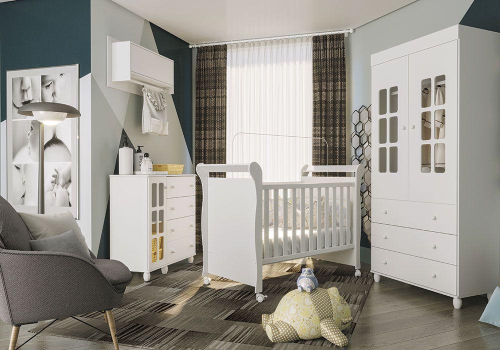 Quarto de Bebê Pequeno Polegar com Nicho Fiorello Cor Branco Brilho