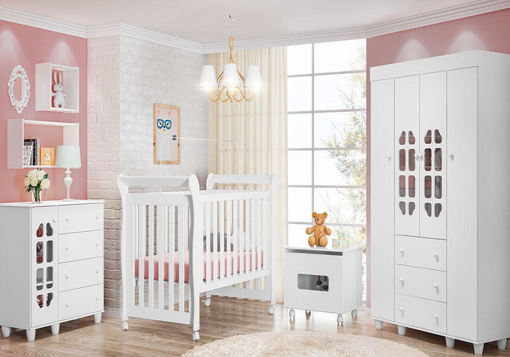 Quarto de Bebê Peteca com Berço Amora Fiorello Cor Branco Brilho