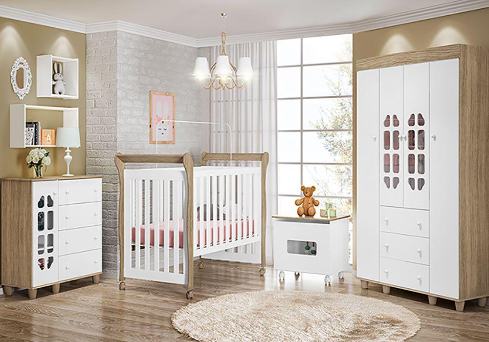 Quarto de Bebê Peteca com Berço Amora Fiorello Cor Duetto