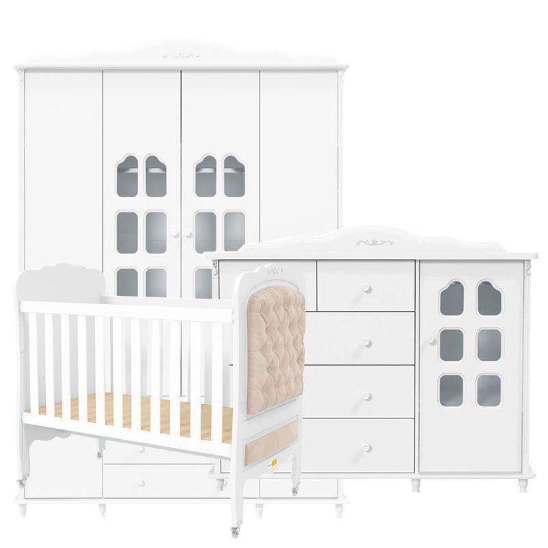 Quarto de Bebê Provence 4 Portas Matic Cor Branco Acetinado