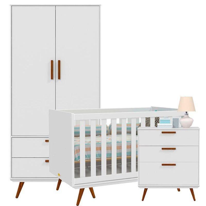 Quarto de Bebê Retrô 2 Portas Matic Cor Branco Acetinado
