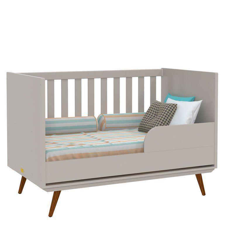 Quarto de Bebê Retrô Glass 3 Portas Matic Cor Cinza Eco Wood