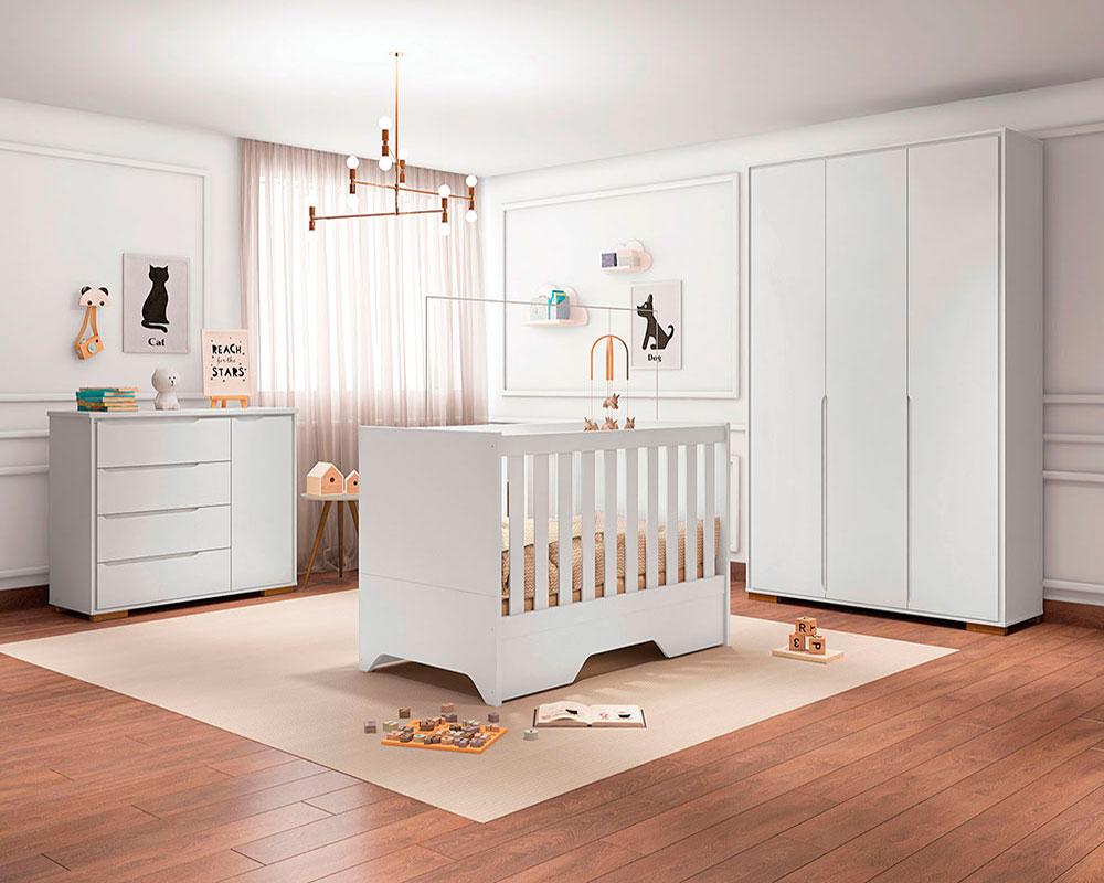 Quarto de Bebê Sloan Móveis Estrela Cor Branco Acetinado