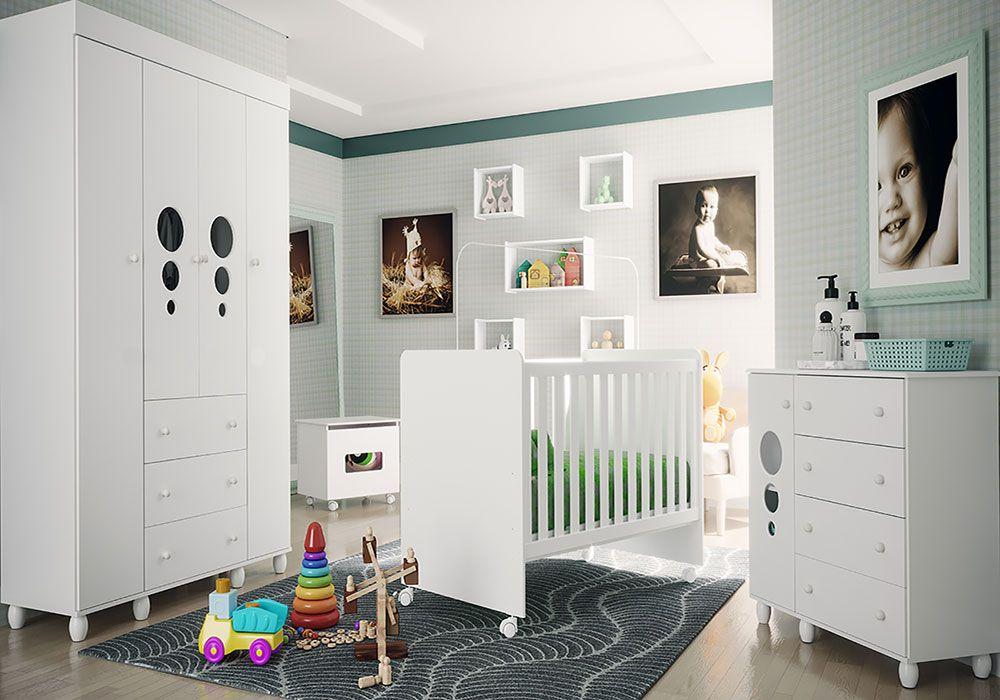Quarto de Bebê Soninho Light com Berço Visione Fiorello Cor Branco Brilho