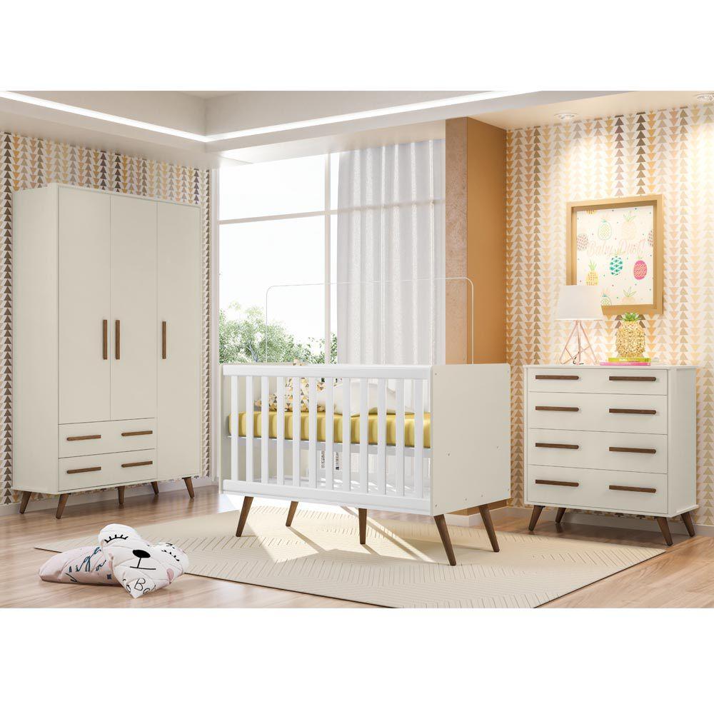 Quarto Infantil Retrô 3 Portas Qmovi Cor Off White Fosco