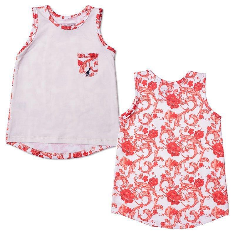 Regata Infantil com Bolso Floral Laranja Toffee
