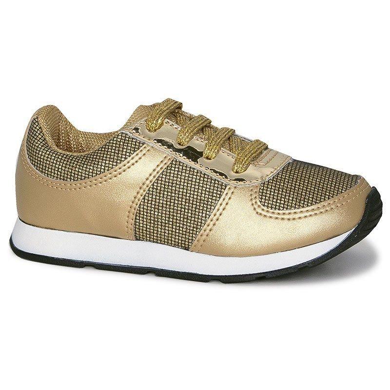 Tênis Infantil Diversão Gliter Sugar Shoes Cor Ouro