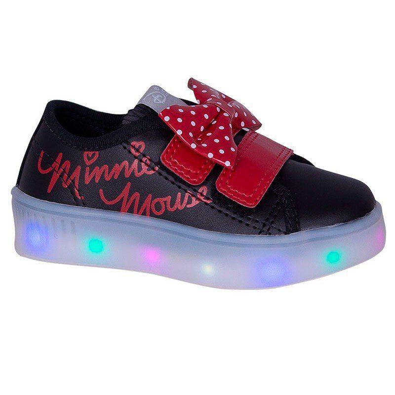 Tênis Infantil Minnie com Led Preto Diversão Sugar Shoes Tamanho:N°20