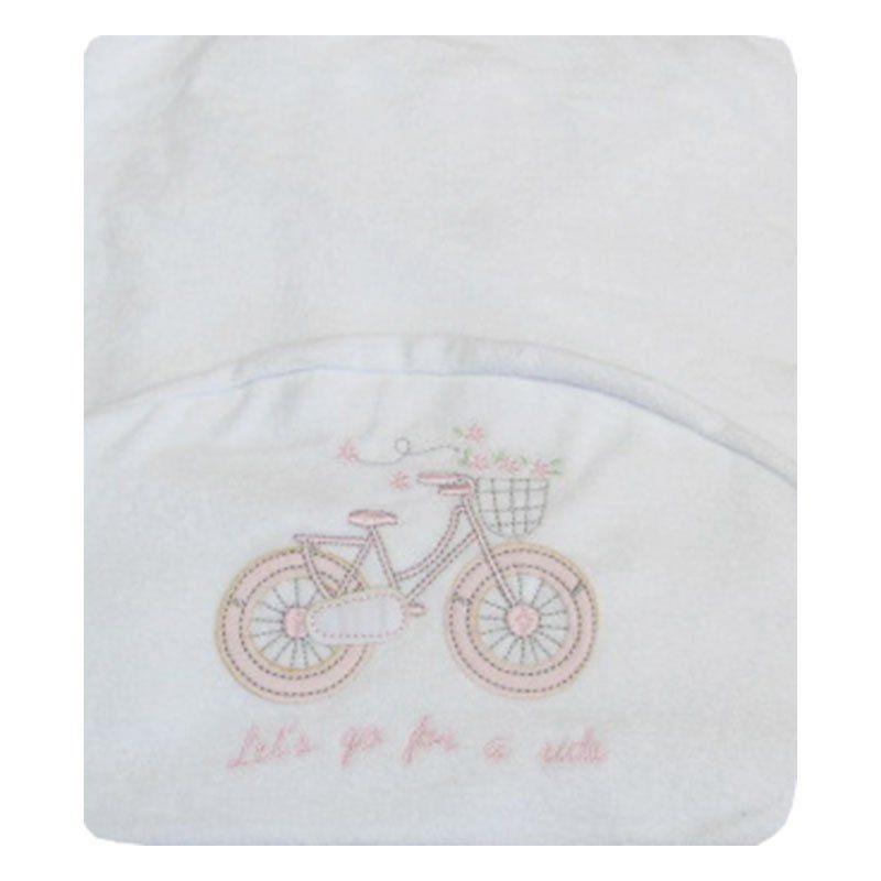 Toalha de Banho Infantil Bicicletinha Classic for Baby Cor Branca