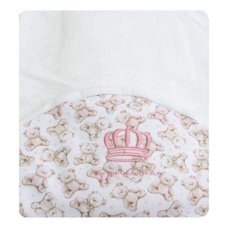 Toalha de Banho Infantil Urso Rosa Classic for Baby Cor Branca