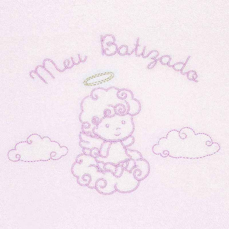 Toalha Meu Batizado Atoalhado Rosa Classic for Baby Cor Rosa