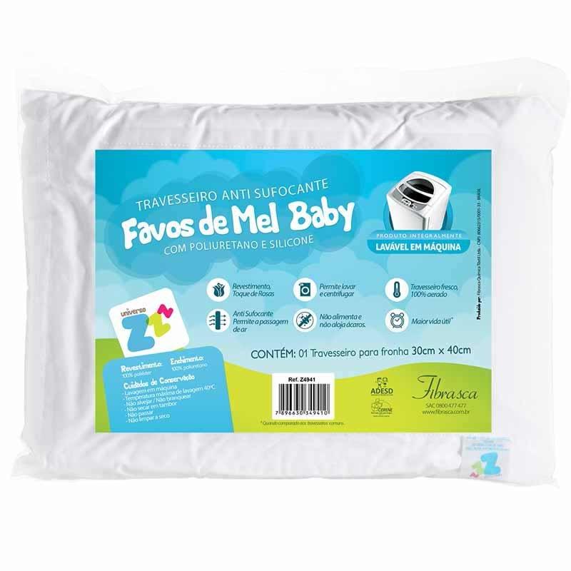 Travesseiro Favinhos De Mel Baby Fibrasca Cor Branca