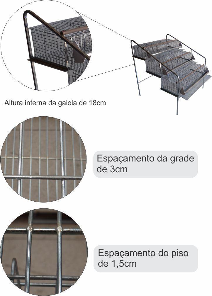 Bateria de 3 gaiolas para codorna suspensa