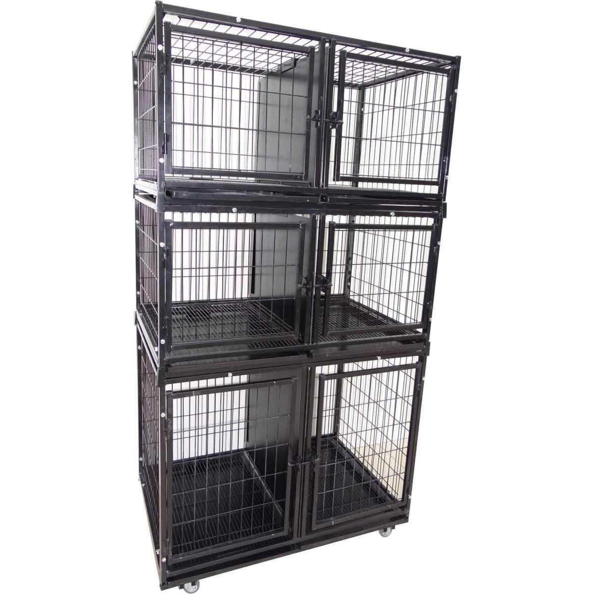 Gaiola canil cães e gatos 6 lugares modular - Preto