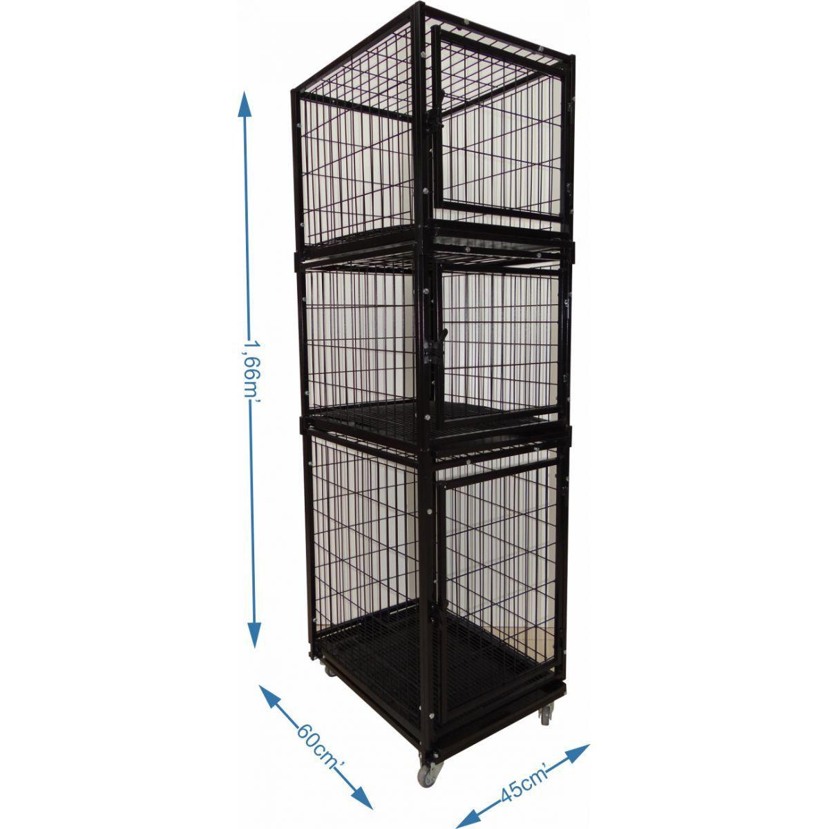 Gaiola canil Cães E Gatos 3 lugares modular - Preta