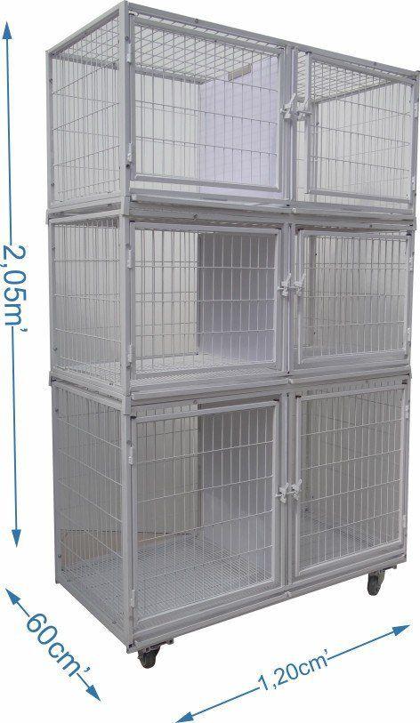 Gaiola canil cães e gatos 6 lugares grande modular - Branca