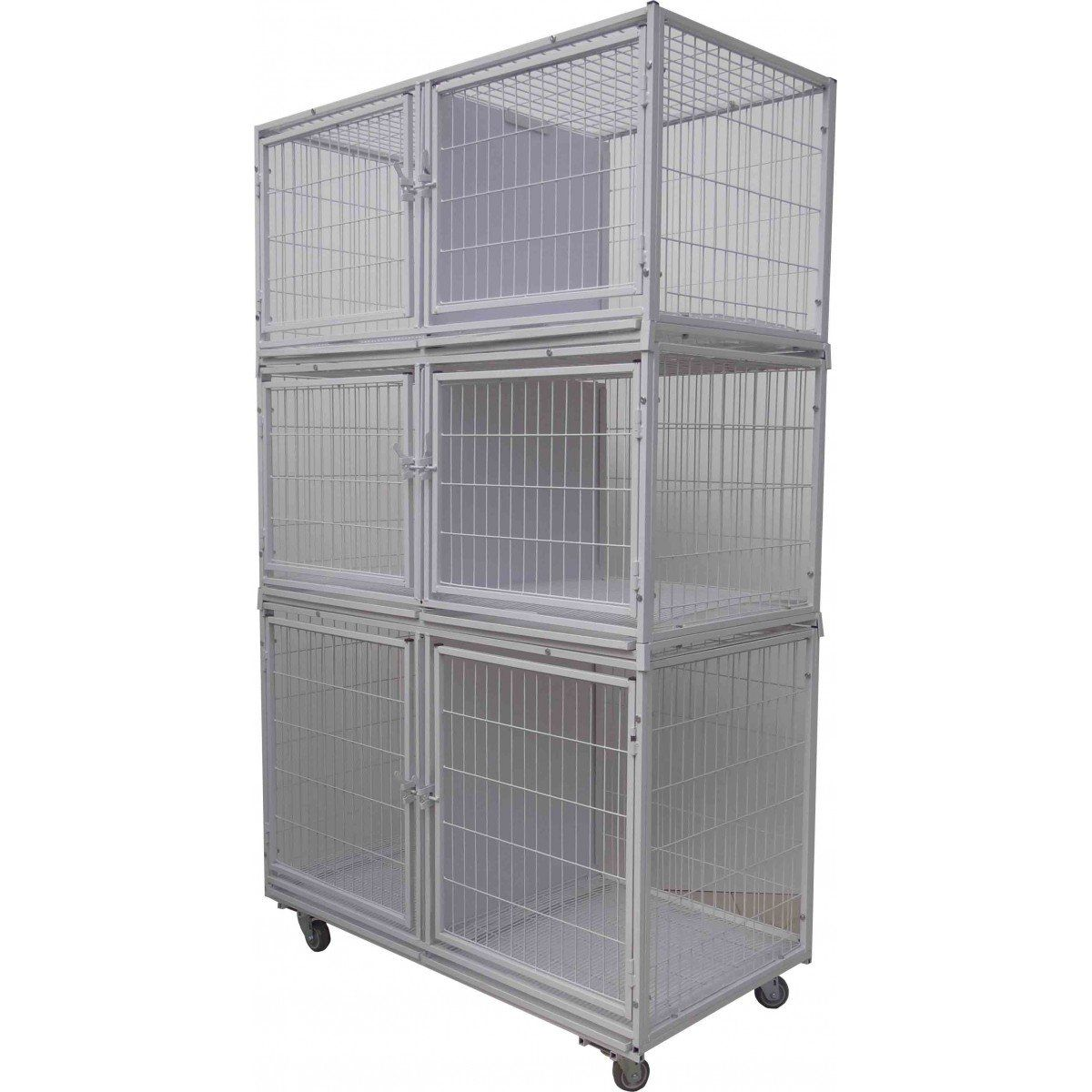 Canil Gatil 6 Lugares Grande MODULAR Banho E Tosa Pet Shop Veterinária-Branco