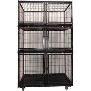 Gaiola Canil Cães E Gatos 6 Lugares Grande modular - Preto