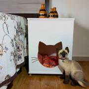 Mesa Cabeceira Casa Gato Com Almofada-FLASH
