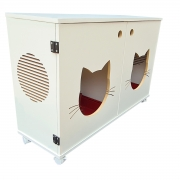 Sanitário duplo banheiro gatos  gatil caixa de areia Félix