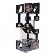 Torre Cama Toca Arranhador nicho brinquedo gato Petris-PRETO