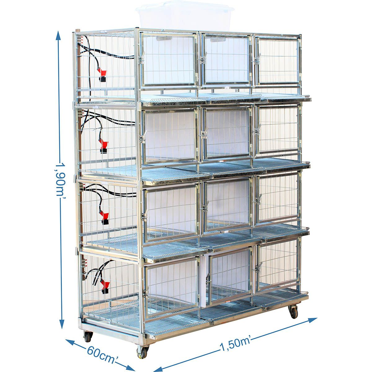 Bateria com 12 gaiolas para galinha