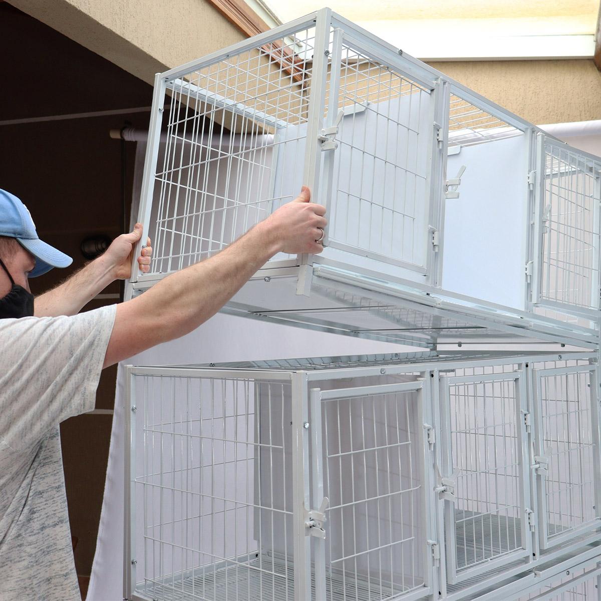 Canil Gatil 8 Lugares MODULAR Banho E Tosa Pet Shop Veterinária - Branco