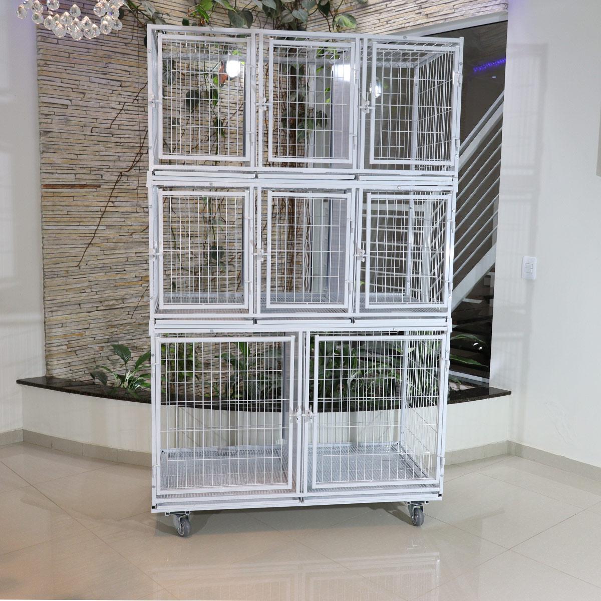 Canil Gatil 8 Lugares MODULAR Banho E Tosa Pet Shop Veterinária-Prata