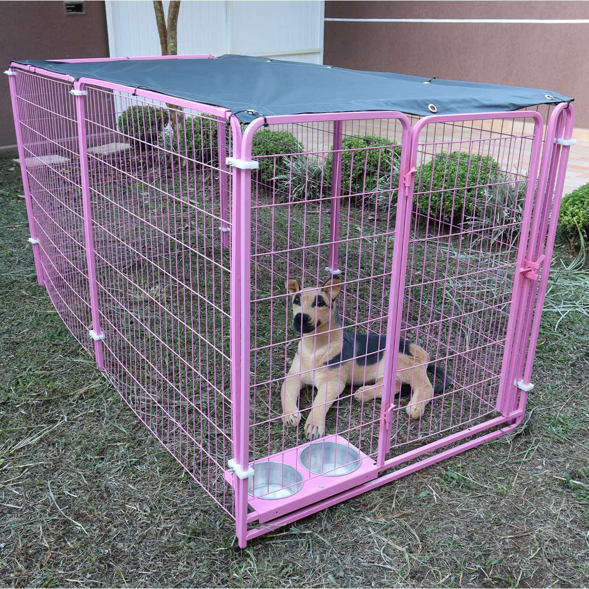 Cercado para Cachorro Cães e diversos animais Com Comedouro - Rosa