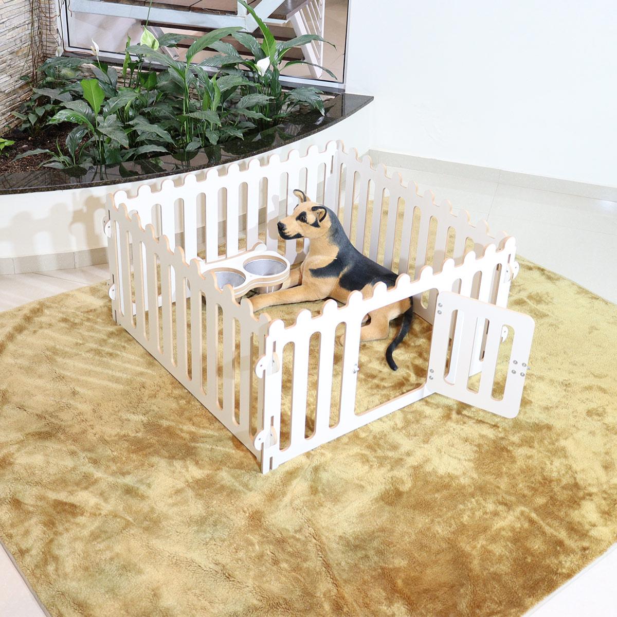 cercado canil  para cachorro cães  diversos pets de luxo Pequeno - Com comedouro