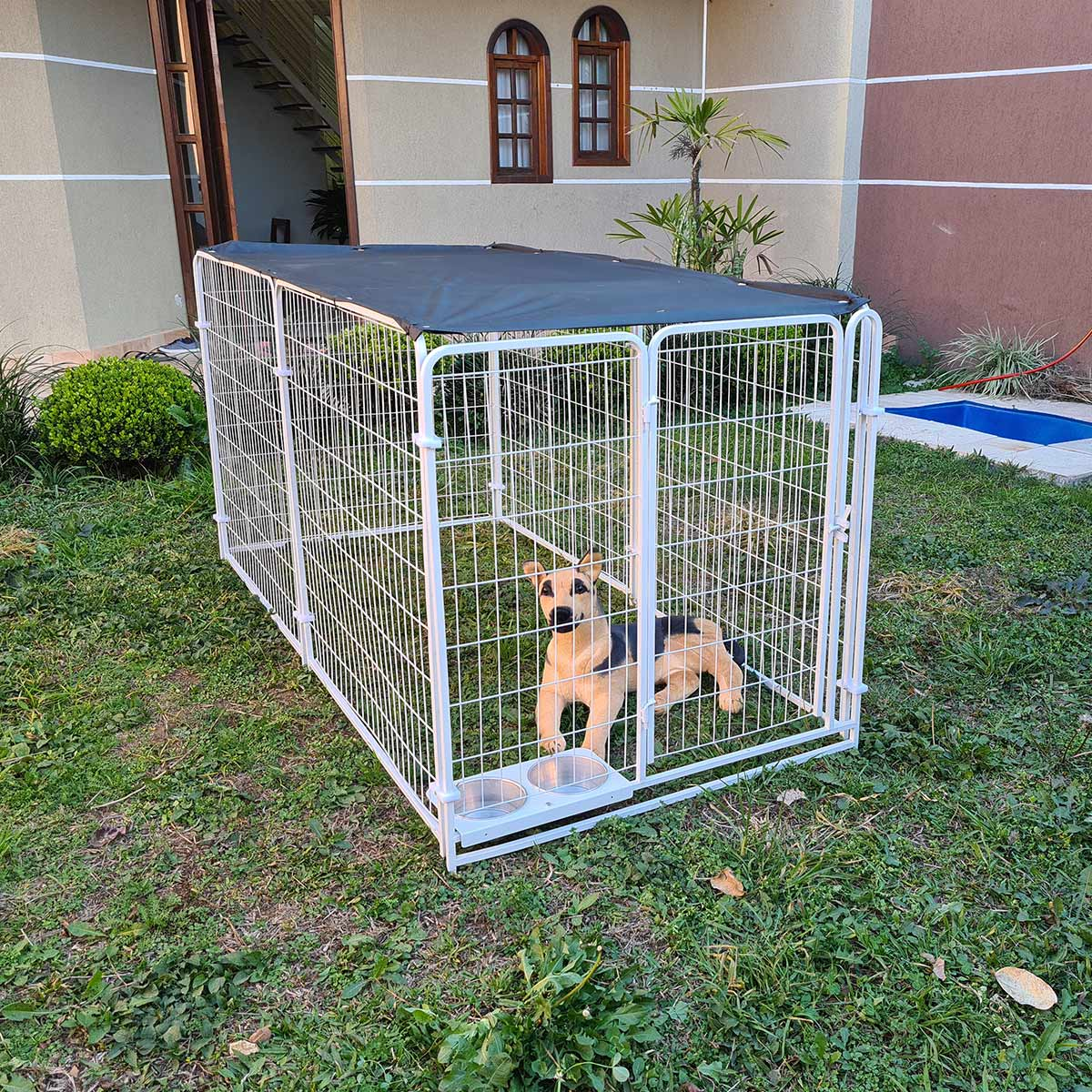 Cercado para Cachorro Cães e diversos animais Com Comedouro - Branco
