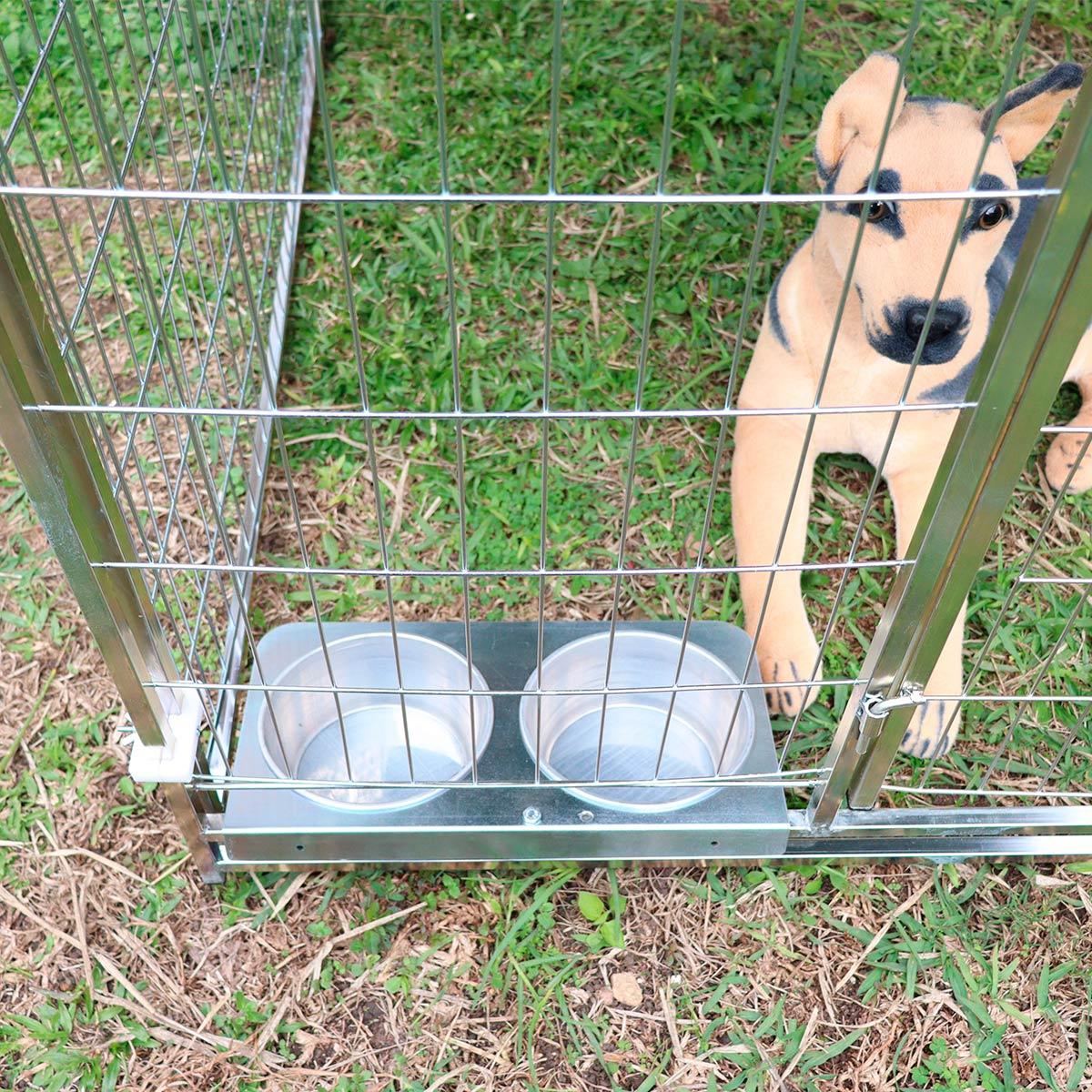 Cercado para Cachorro Cães e diversos animais Com Comedouro Grande -Galvanizado