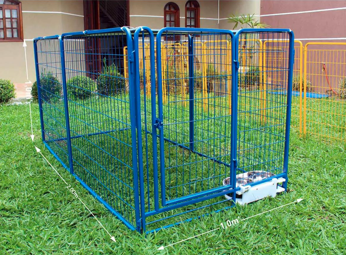 Cercado para Cães e diversos animais Com Comedouro - Azul