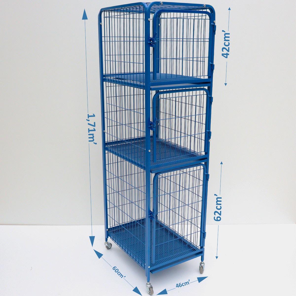 Canil Gatil Gaiola 3 Lugares Pet Shop Veterinária-Azul