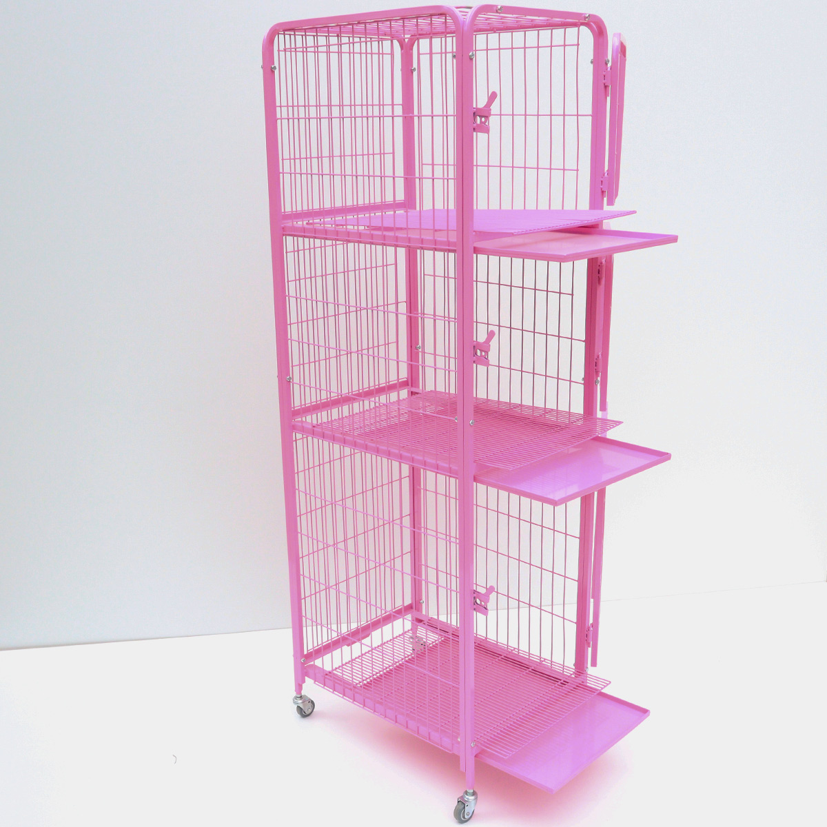 Gaiola canil Cães E Gatos 3 lugares - cor de rosa
