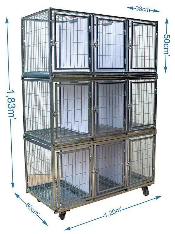 Gaiola canil cães e gatos - 9 Lugares modular Prata