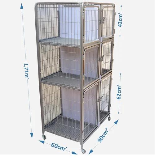 Canil Gatil 6 Lugares Banho E Tosa Pet Shop Veterinária-Prata