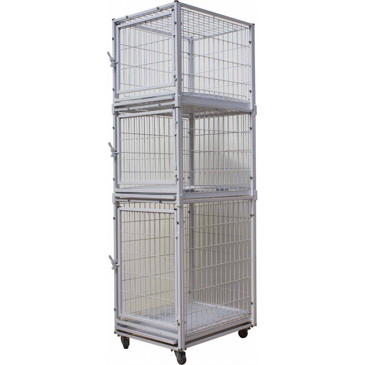 Gaiola canil Cães E Gatos 3 lugares modular- Branca