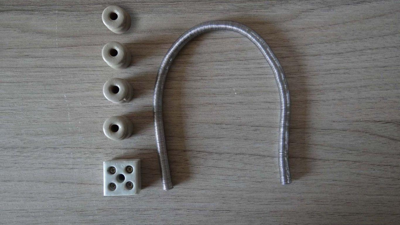 Kit Resistencia de nickel cromo 200W + isoladores de porcelana