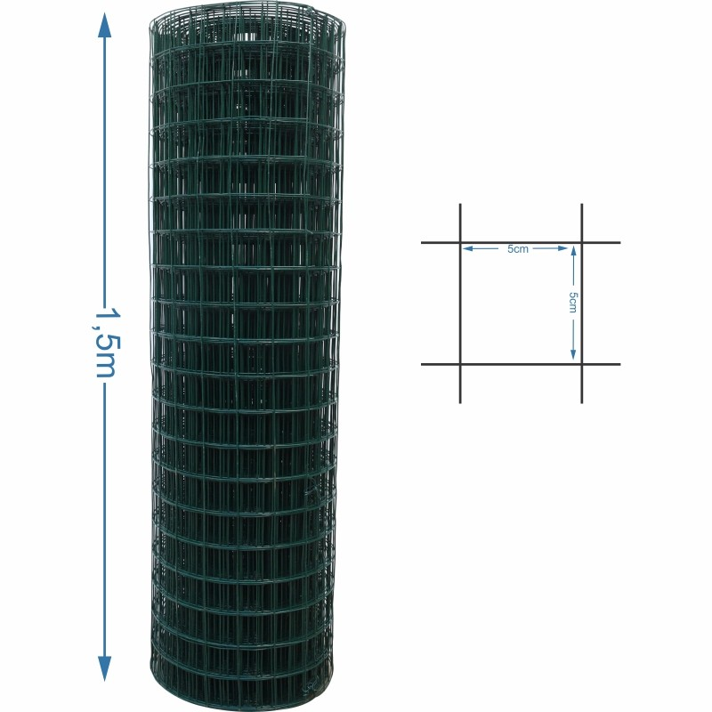 Tela revestira tipo alambrado 5x5 malha 1,6/2,0mm 1,5 metro de altura - 25M de comprimento