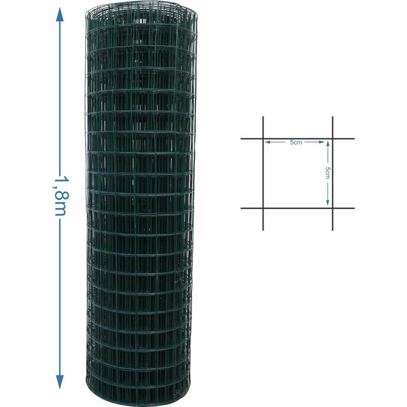 Tela Revestida tipo Alambrado 5x5 malha 1,6/2,0mm 1,8 metro de altura - 25M de comprimento