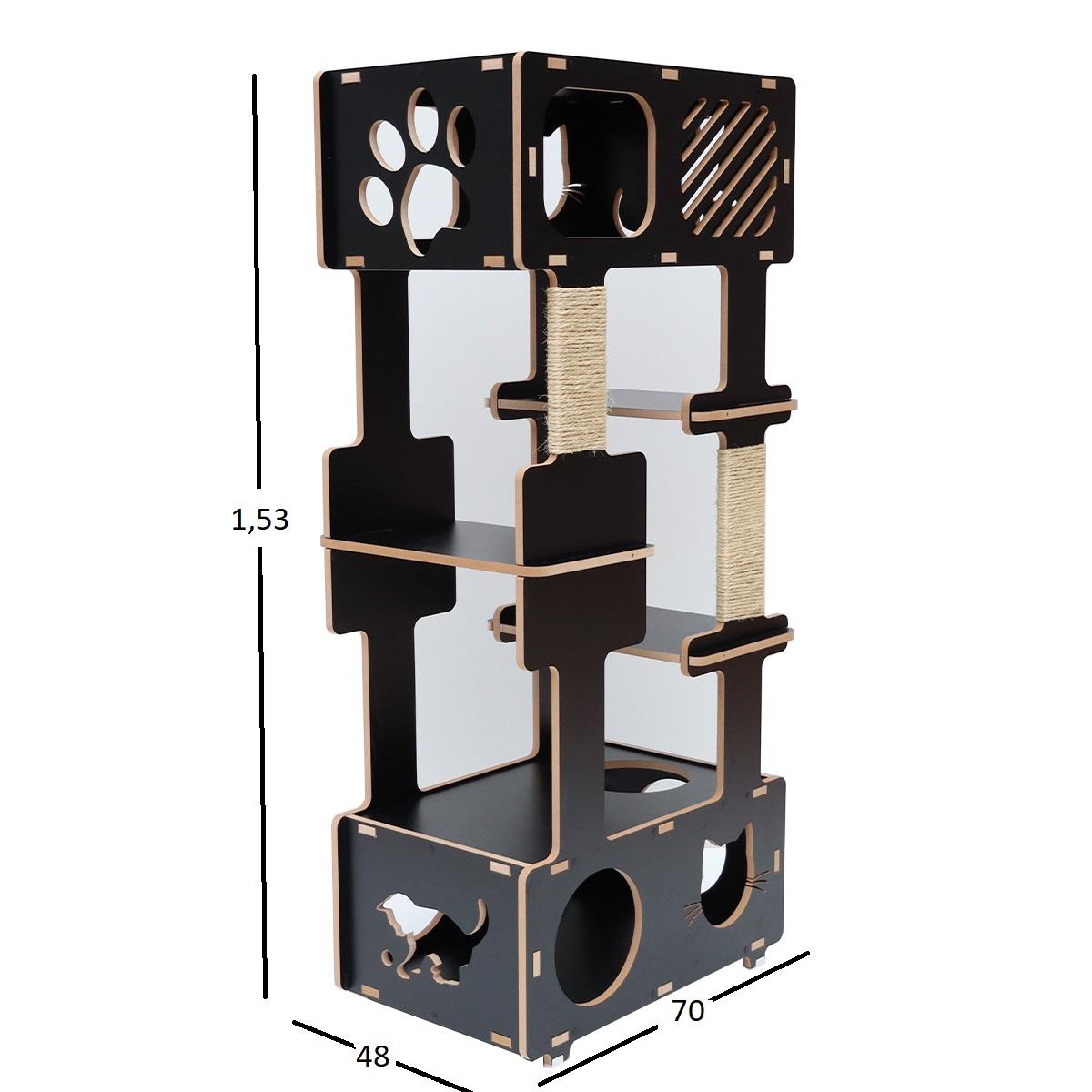 Torre Cama Toca Arranhador gato gatil brinquedo Simbah-PRETO