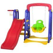 Playground Infantil 3 Em 1 Escorregador, Balanço e Basquete