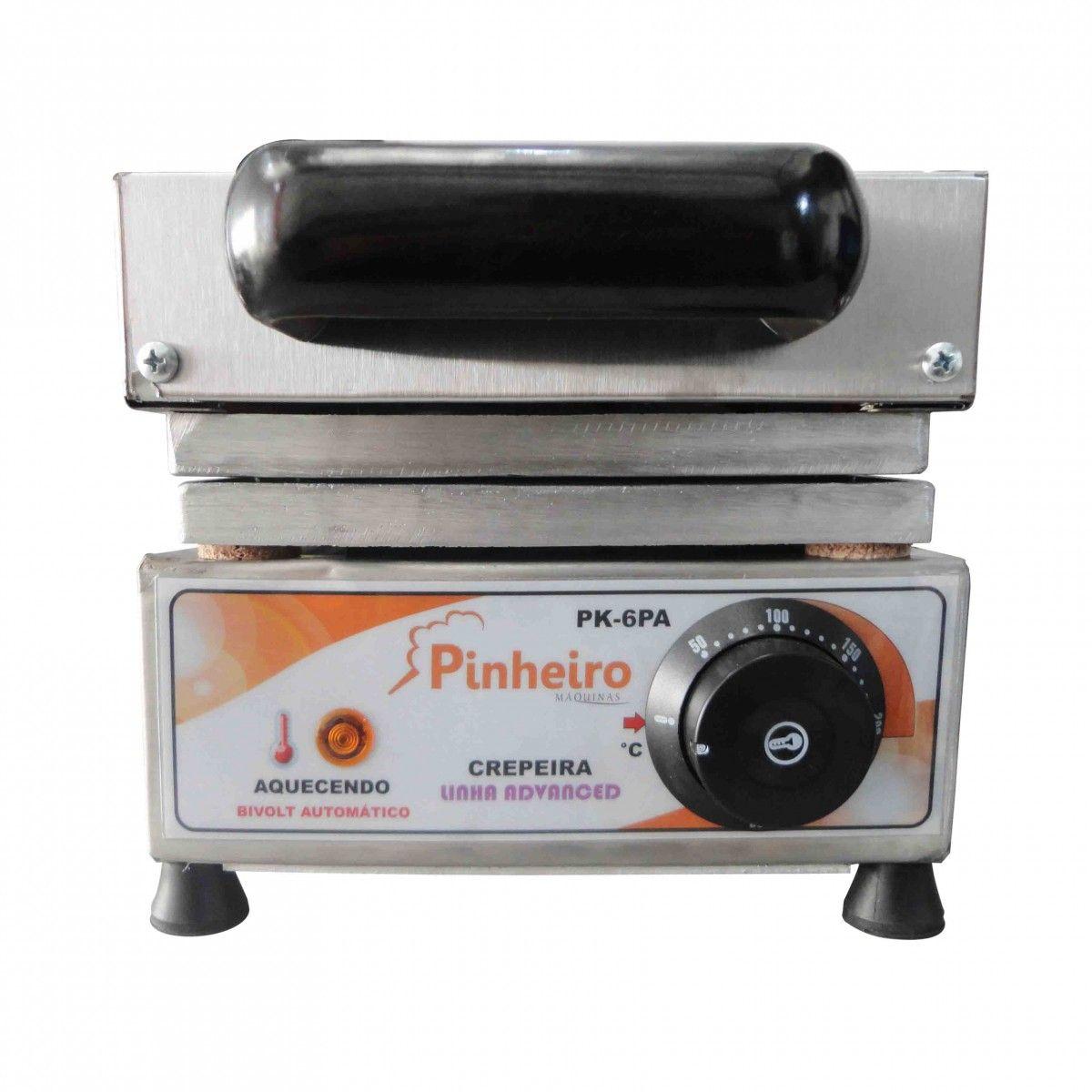 Maquina de Crepe Crepeira Elétrica 6 Cavidades + Brinde
