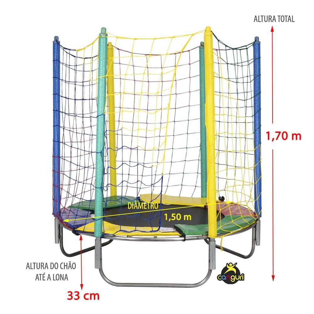Cama Elástica 1,50 m Lona Preta Nylon