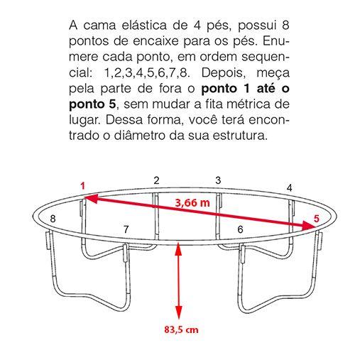 Cama Elástica 3,66/3,70 m Canguri Quadricolor Nacional
