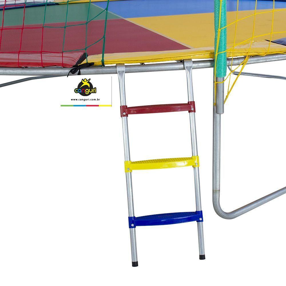 Cama Elástica 4,27 m / 4,40 m 4 pés Canguri Quadricolor Nacional Frete Grátis