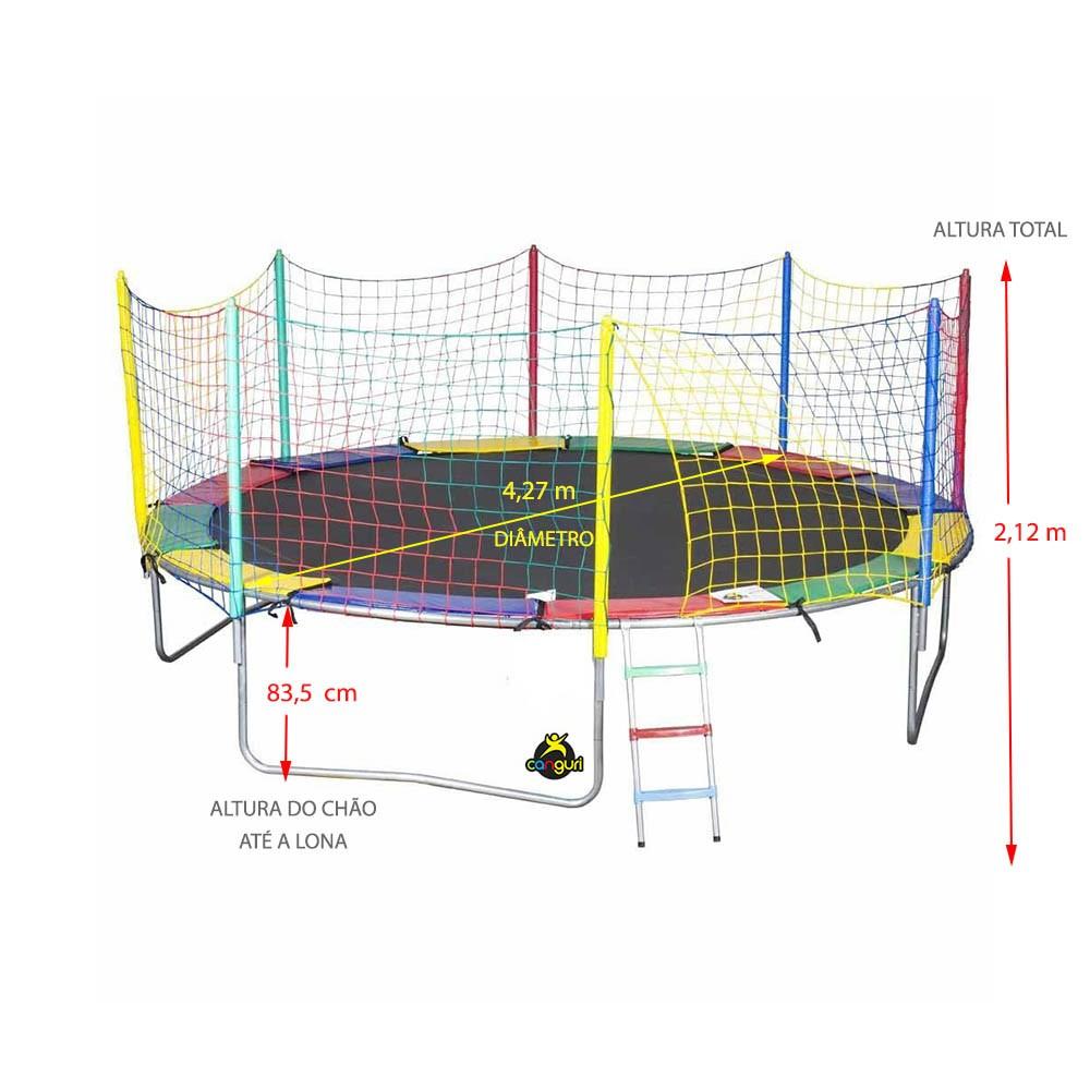 Cama Elástica 4,27 m 4 pés Canguri Lona Preta Nylon IMPORTADA