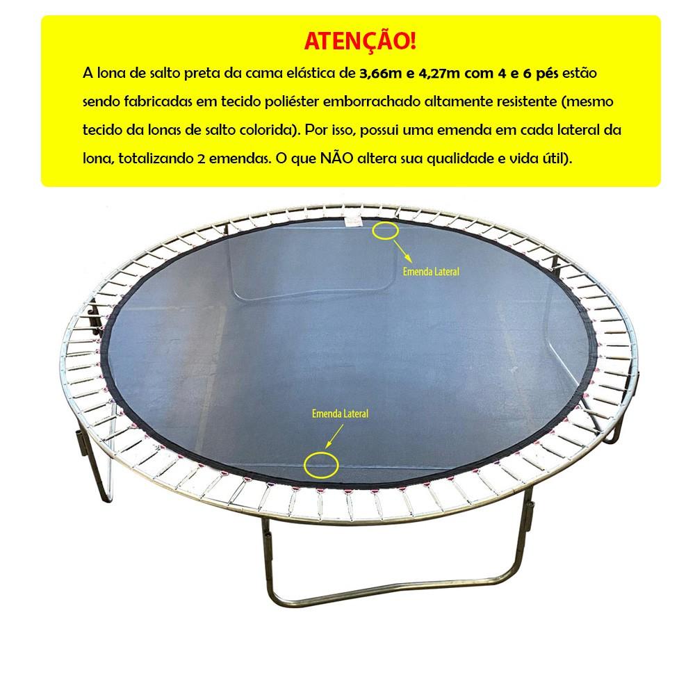 Cama Elástica 4,27 m 6 pés e 12 hastes Canguri Lona Preta Emborrachada